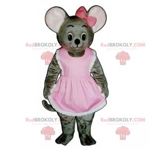 Myš maskot v šatech a luku - Redbrokoly.com