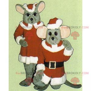 Santa a matka vánoční myš maskot - Redbrokoly.com