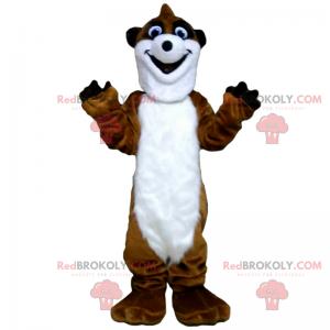 Hnědý a bílý maskot Surikata - Redbrokoly.com