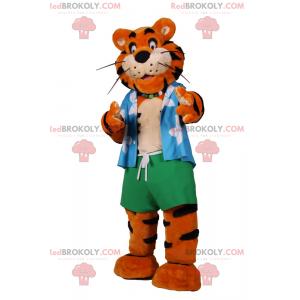 Tiger mascot with beach outfit - Redbrokoly.com