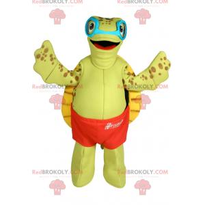 Schildkrötenmaskottchen mit Badeanzug und Sonnenbrille -