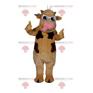 Brown cow mascot with gray sunglasses - Redbrokoly.com