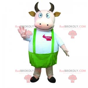 Kráva maskot se zelenou zástěrou - Redbrokoly.com