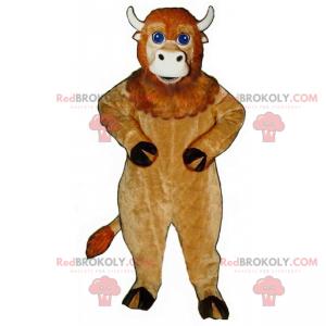 Béžový kráva maskot s modrýma očima - Redbrokoly.com