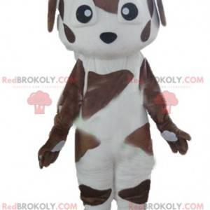 Skvrnitý hnědý a bílý pes maskot - Redbrokoly.com