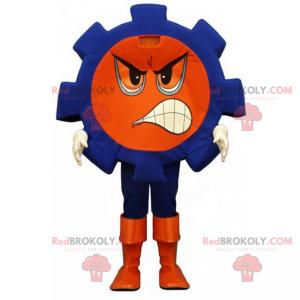 Blaues Nussmaskottchen mit wütendem Gesicht - Redbrokoly.com