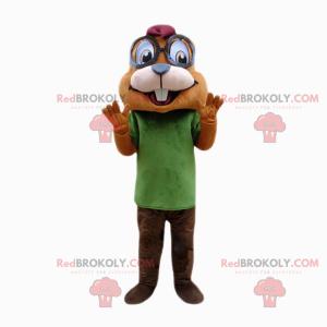 Veverka maskot s velkými kulatými brýlemi - Redbrokoly.com