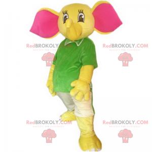 Maskot slona s velkými růžovými ušima - Redbrokoly.com