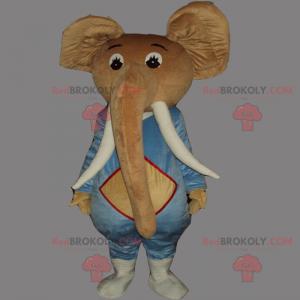 Elefantenmaskottchen mit großen Stoßzähnen - Redbrokoly.com