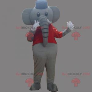 Elefantenmaskottchen mit T-Shirt und Hut - Redbrokoly.com