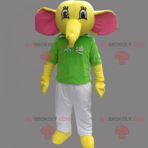 Elefantenmaskottchen mit T-Shirt und Hose - Redbrokoly.com