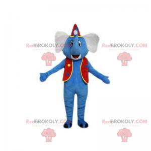 Modrý slon maskot v cirkusové oblečení - Redbrokoly.com