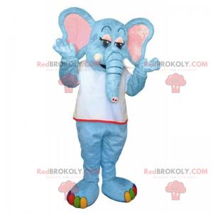 Blaues Elefantenmaskottchen und Regenbogenfüße - Redbrokoly.com