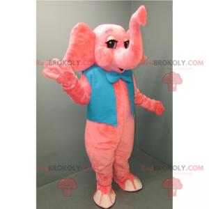 Růžový slon maskot s modrým motýlkem - Redbrokoly.com