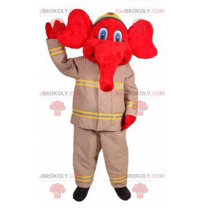 Red elephant mascot in firefighter outfit - Redbrokoly.com