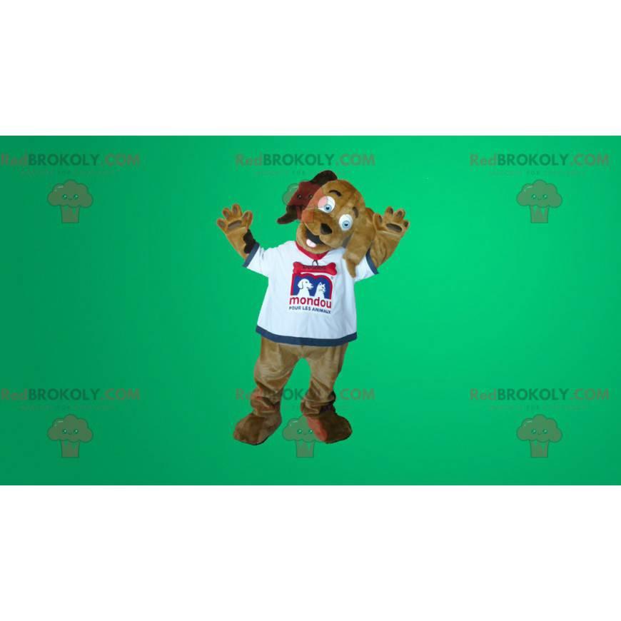 Brun hundemaskot i hvit t-skjorte - Redbrokoly.com