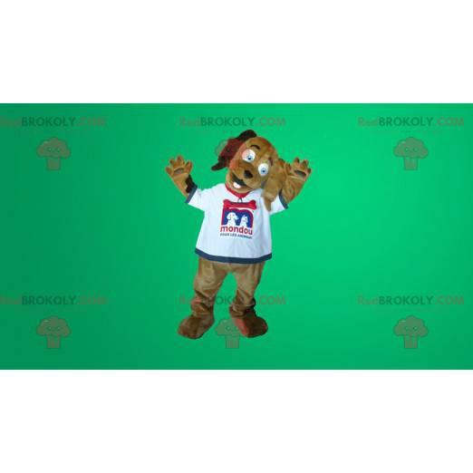 Brązowy pies maskotka w białej koszulce - Redbrokoly.com