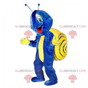 Blaues und gelbes Schneckenmaskottchen - Redbrokoly.com