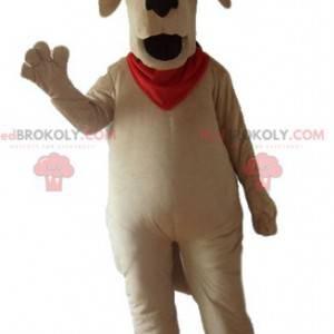 Duży brązowy pies maskotka z czerwonym szalikiem -