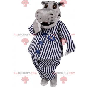 Mascote hipopótamo em pijama listrado - Redbrokoly.com