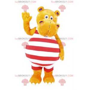 Hippopotamus mascot in striped swimwear - Redbrokoly.com