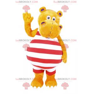 Mascote hipopótamo em trajes de banho às riscas - Redbrokoly.com