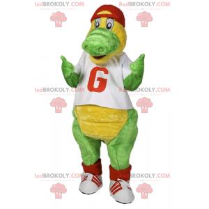 Maskot dinosaura s tričkem a čepicí - Redbrokoly.com