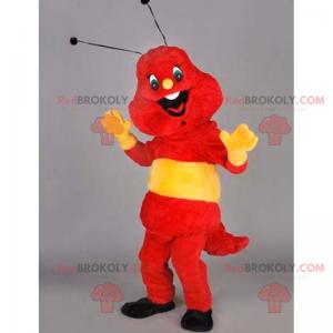 Smilende rød og gul insektsmaskot - Redbrokoly.com