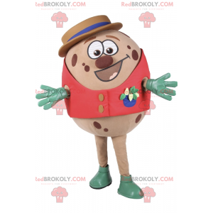 Skvrnitý vejce maskot s červenou bundu a klobouk -