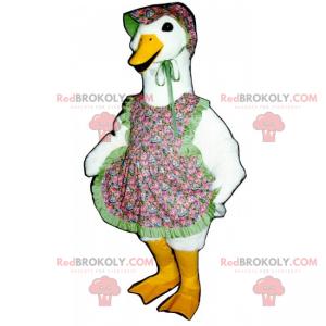 Gänse-Maskottchen mit Schürze und Hut mit Blumen -