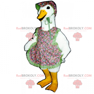 Goose mascot with apron and hat with flowers - Redbrokoly.com
