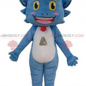 Funny and smiling blue white and yellow dragon mascot -