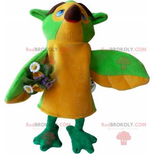 Ptačí maskot s kyticí květin - Redbrokoly.com