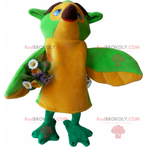 Vogelmaskottchen mit Blumenstrauß - Redbrokoly.com