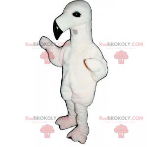 Maskot bílý pták s dlouhým zobákem - Redbrokoly.com