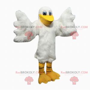 Weißes Vogelmaskottchen mit blauen Augen - Redbrokoly.com