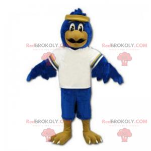 Blaues Vogelmaskottchen mit Stirnband - Redbrokoly.com