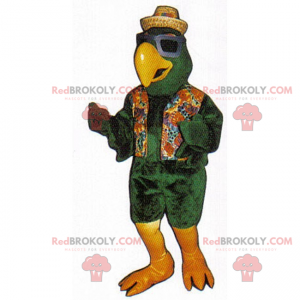 Ptačí maskot v plážovém oblečení - Redbrokoly.com