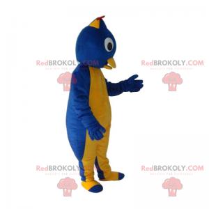 Žlutý a modrý pták maskot - Redbrokoly.com
