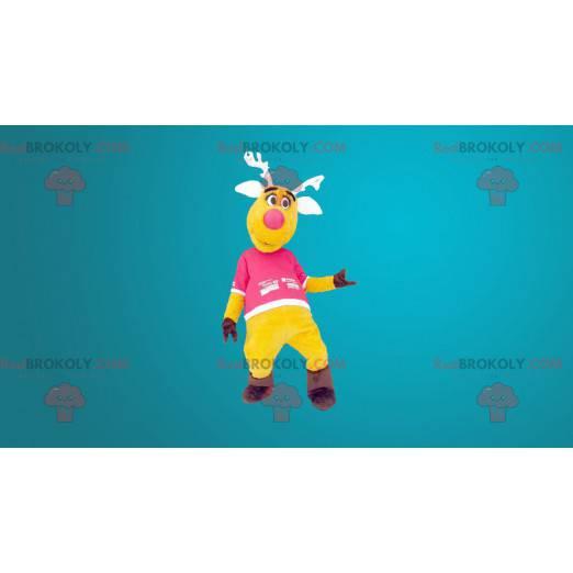 Żółta i różowa maskotka renifera - Redbrokoly.com