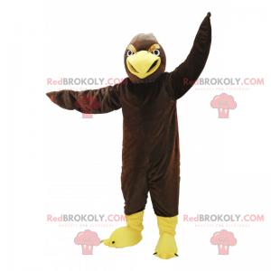 Hnědý pták maskot a žlutý zobák - Redbrokoly.com