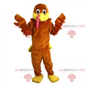 Hnědý a žlutý pták maskot - Redbrokoly.com