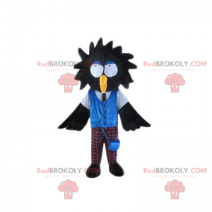 Black bird mascot with big eyes and plaid pants - Redbrokoly.com