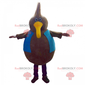 Rundum Vogel Maskottchen mit langem gelben Schnabel -