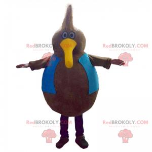Všestranný maskot ptáka s dlouhým žlutým zobákem -