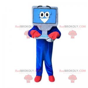 Szara i niebieska maskotka komputer z uśmiechniętą twarzą -
