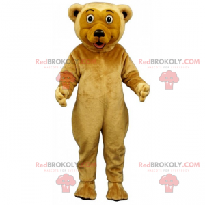 Bear mascot beige hair and round eyes - Redbrokoly.com