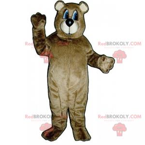Niedźwiedź maskotka z brązowymi włosami i niebieskimi oczami -