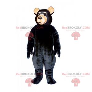 Bärenmaskottchen mit schwarzen Haaren und beiger Schnauze -