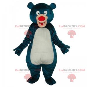 Modrý medvěd maskot s červeným nosem - Redbrokoly.com